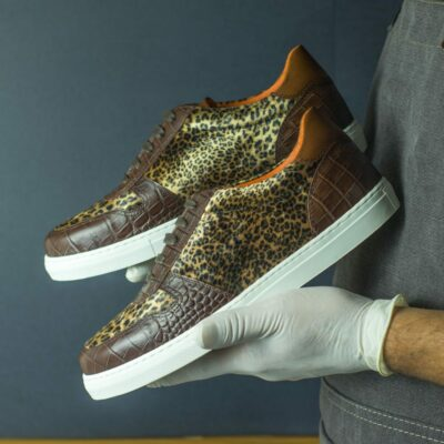 Custom Made Women's Trainer in Dark Brown Croco with Leopard Print and Medium Brown Painted Calf Leather