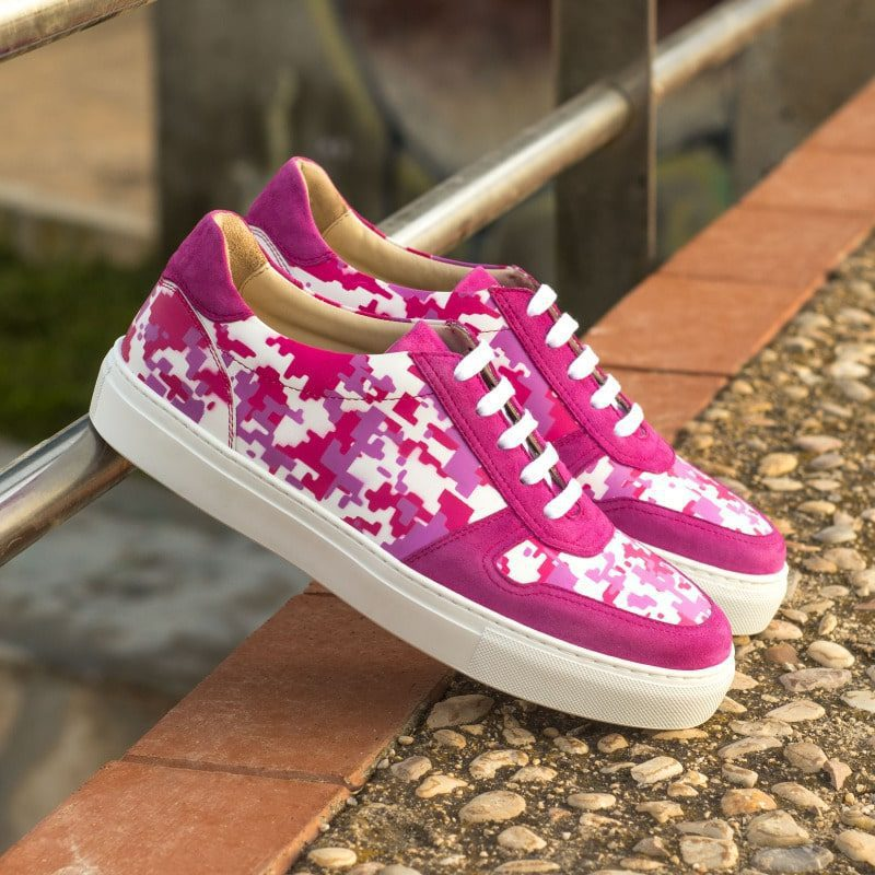 Custom Made Women's Trainer in Fuschia Kid Suede and White Box Calf with Stencil Art