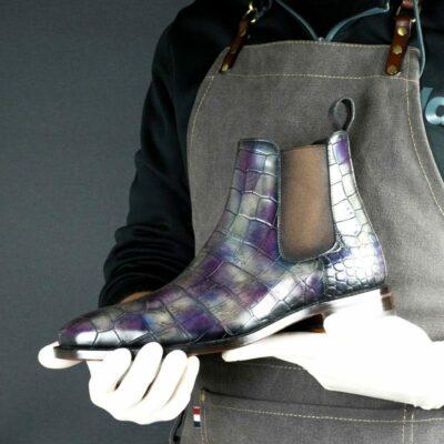 LIMITED EDITION Croco Alexandria Hand Patina Chelsea Boots