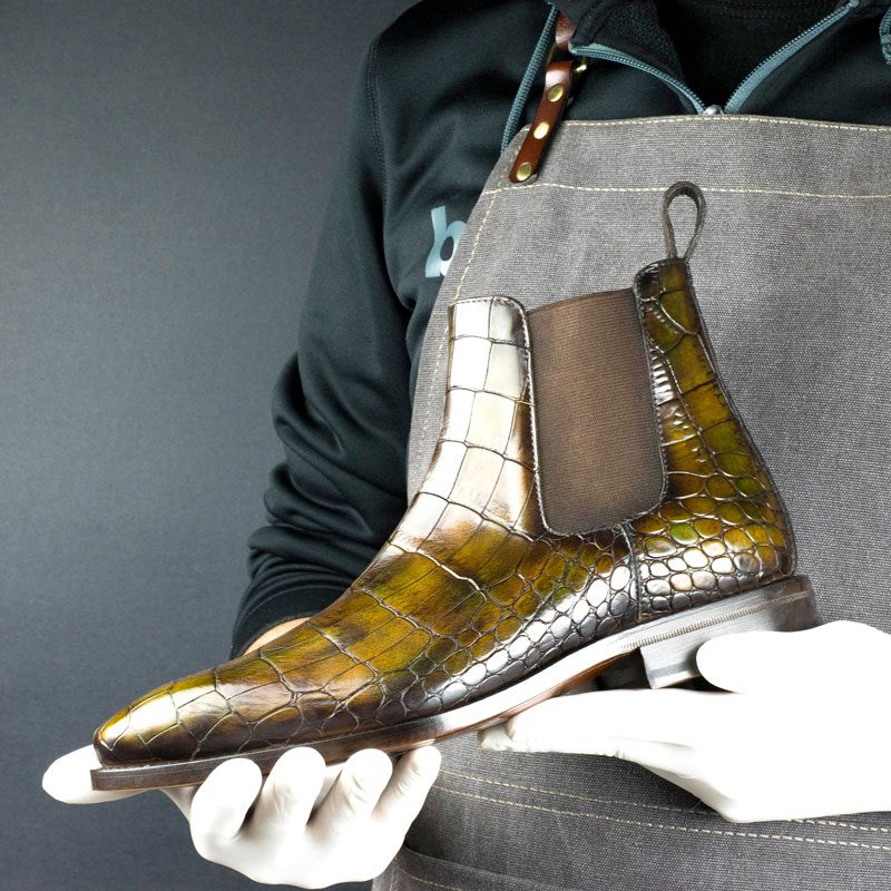 LIMITED EDITION Croco Cairo Hand Patina Chelsea Boots