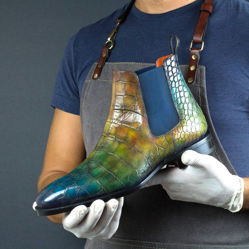 LIMITED EDITION Croco Jungle Hand Patina Chelsea Boots w/ Metal Toe Taps