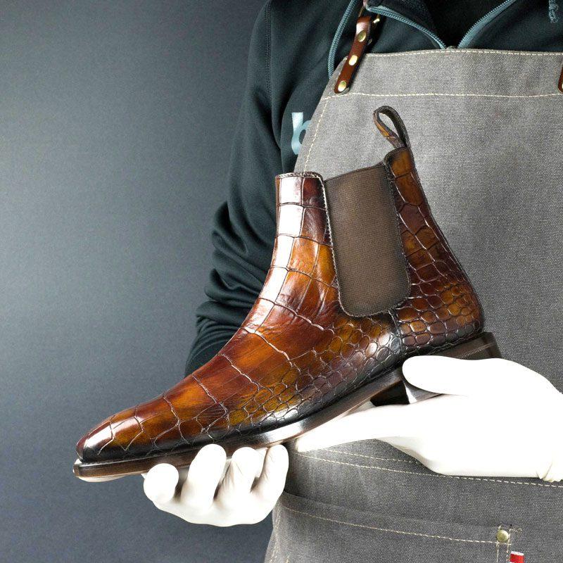 LIMITED EDITION Croco Nairodi Hand Patina Chelsea Boots