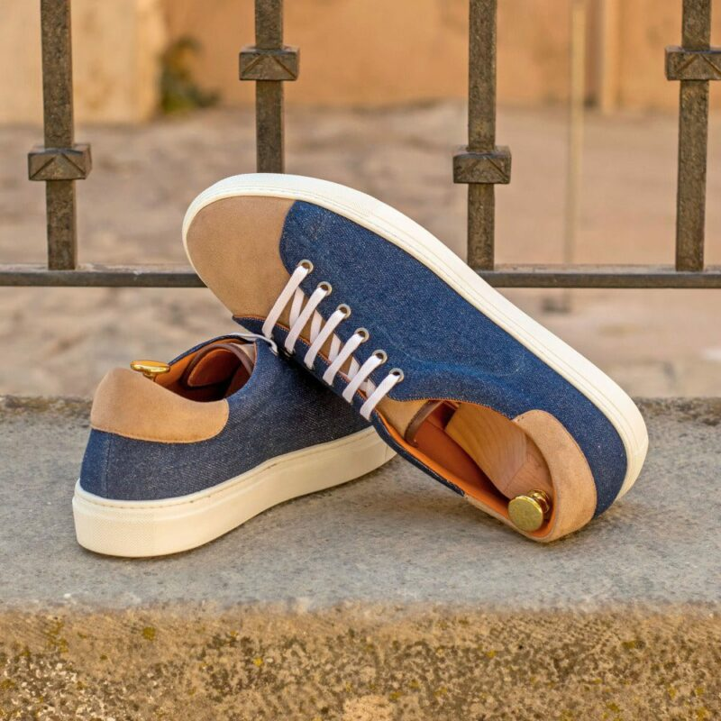 Custom Made Cupsole Trainers in Camel Kid Suede and Denim Jeans with Dark Brown Box Calf