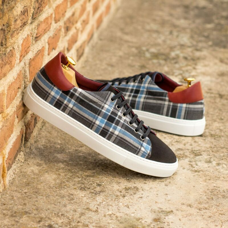 Custom Made Cupsole Trainers in Dark Brown Luxe Suede and Plaid with Red Painted Calf
