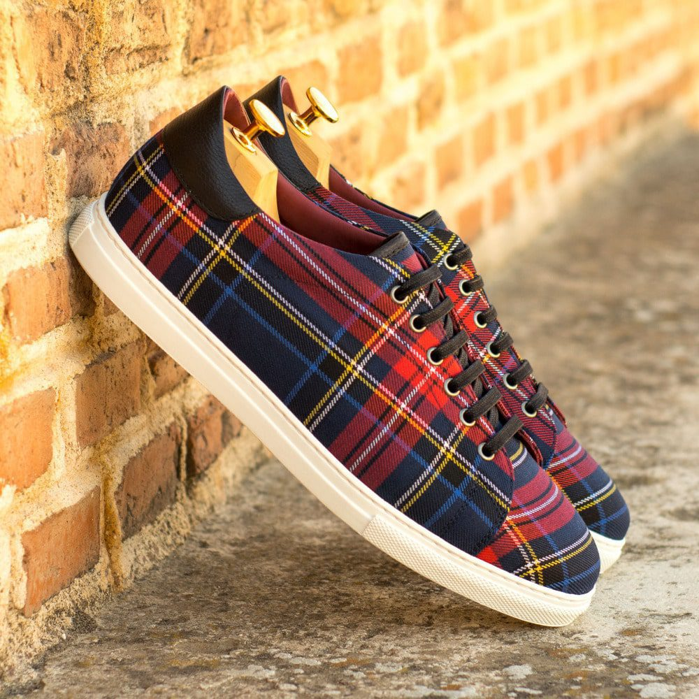 Custom Made Cupsole Trainers in Tartan with Black Painted Full Grain Leather