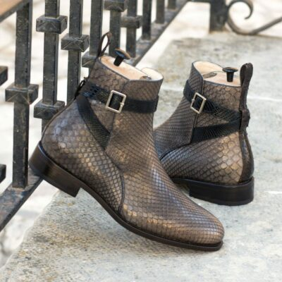 Custom Made Goodyear Welted Jodhpur Boot in Grey, Black and Dark Brown Genuine Python