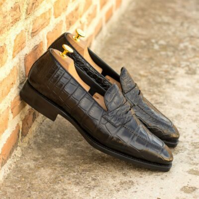 Custom Made Goodyear Welted Loafers in Black Genuine Alligator with Beveled Waist and Metal Toe Taps