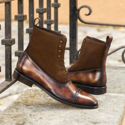 Custom Made Men's Balmoral Boot in Italian Calf Leather with a Fire Museum Hand Patina and Medium Brown Luxe Suede