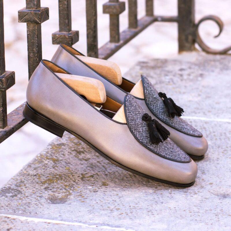 Custom Made Men's Belgian Slipper in Grey Painted Calf and Herringbone with Black Suede Tassels