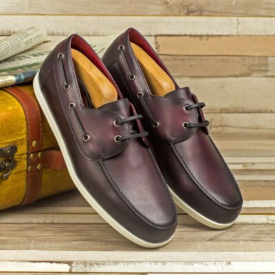 Custom Made Men's Boat Shoe in Burnished Burgundy Painted Calf Leather