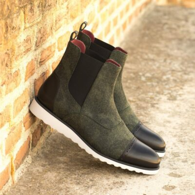 Custom Made Men's Chelsea Boot Multi in Camo Flannel with Black Painted Calf