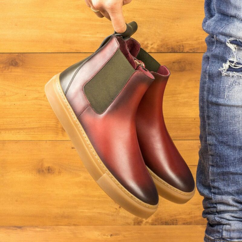 Custom Made Men's Chelsea Sport Boot in Burnished Red and Olive Green Painted Calf Leather