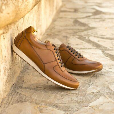 Custom Made Men's Corsini Jogger in Cognac Box Calf Leather
