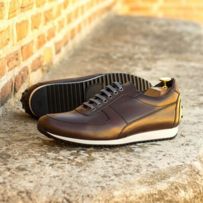 Custom Made Men's Corsini Jogger in Dark Brown Box Calf Leather