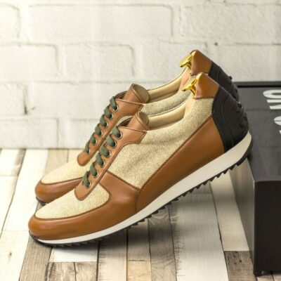 Custom Made Men's Corsini Jogger in Medium Brown Box Calf with Ice Lined and Black Painted Calf