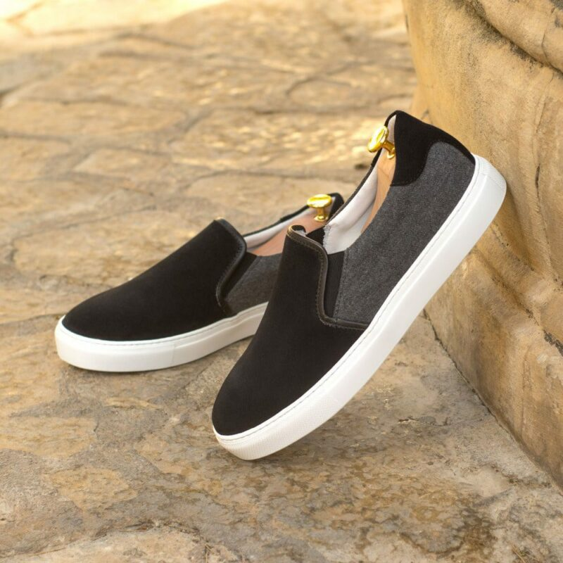 Custom Made Men's Cupsole Slip On in Black Luxe Suede and Light Grey Flannel