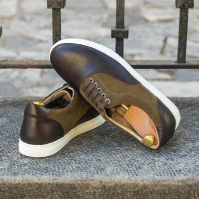 Custom Made Men's Cupsole Top Sider in Khaki Luxe Suede and Dark Brown Painted Calf Leather