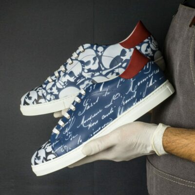 Custom Made Men's Cupsole Trainer in Navy Blue,Black and Red Painted Calf with Stencil Art
