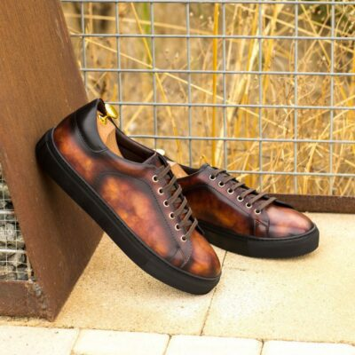 Custom Made Men's Cupsole Trainers inItalian Calf Leather with a Fire Museum Hand Patina Finish