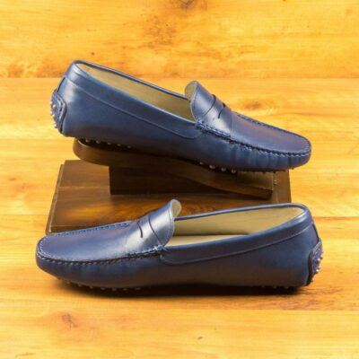 Custom Made Men's Driving Loafer in Navy Blue Painted Calf Leather