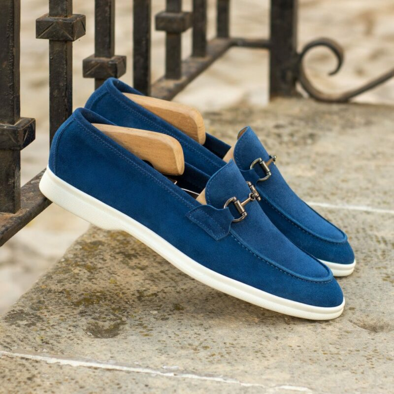 Custom Made Men's Flex Sport Moccasin in Cobalt Blue Suede