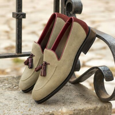 Custom Made Men's Goodyear Flex Loafer in Sand and Oxblood Suede