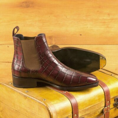 Custom Made Men's Goodyear Welted Chelsea Boot Classic in Burgundy Painted Croco with Metal Toe Taps
