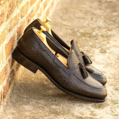 Custom Made Men's Goodyear Welted Loafers in Dark Brown Genuine Python with Dark Brown Pebble Grain Leather