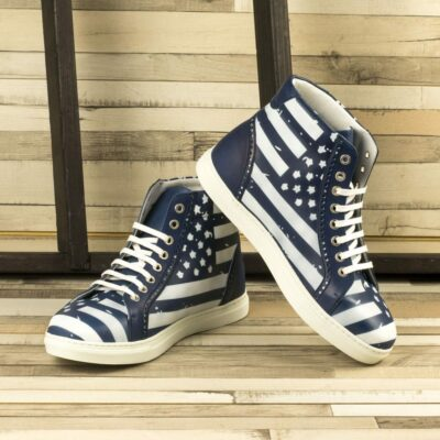 Custom Made Men's High Kick in Navy Blue Painted Calf Leather with Stencil Art