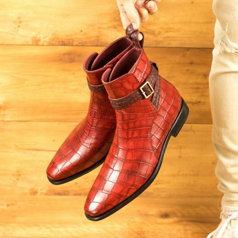 Custom Made Men's Jodhpur Boot in Red and Burgundy Painted Croco Embossed Calf Leather