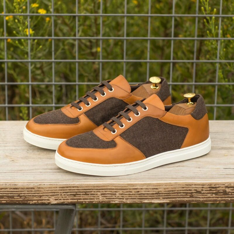 Custom Made Men's Low Top Trainer in Cognac Painted Calf with Brown Flannel