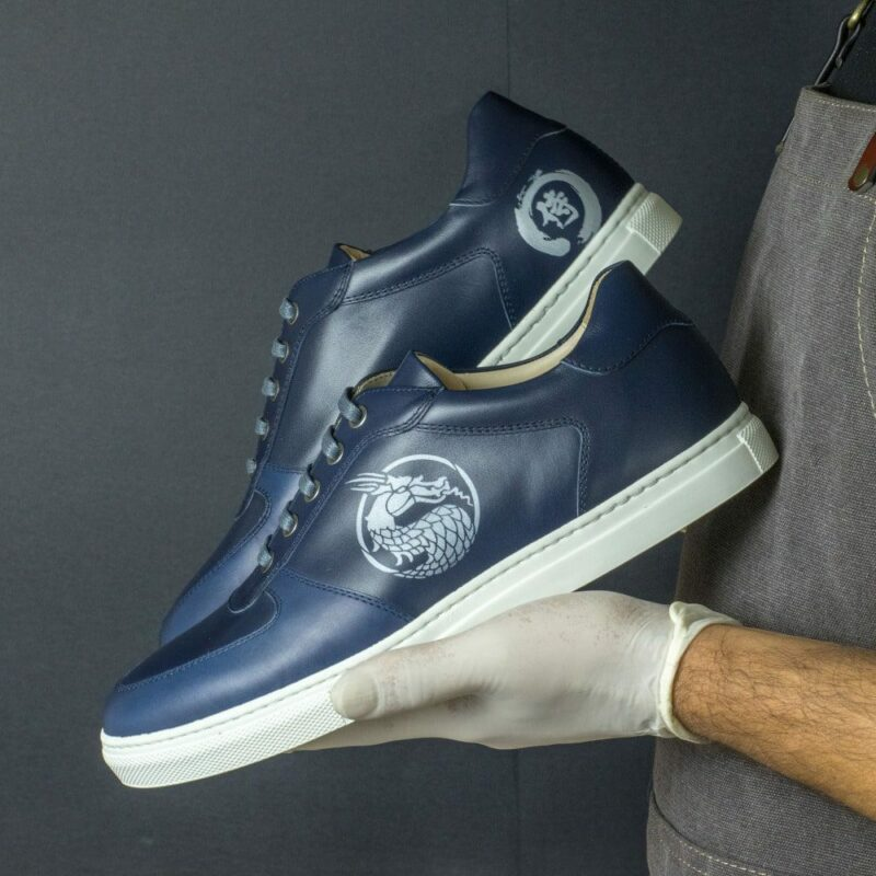 Custom Made Men's Low Top Trainer in Navy Blue Box Calf with Stencil Art