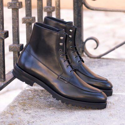 Custom Made Men's Moc Boot in Black Box Calf