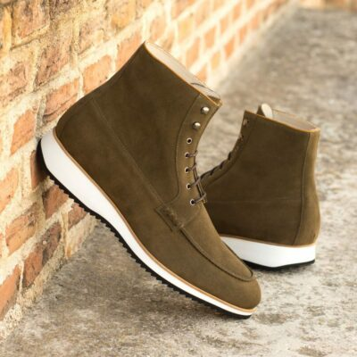 Custom Made Men's Moc Boot in Khaki Luxe Suede with Cognac Box Calf