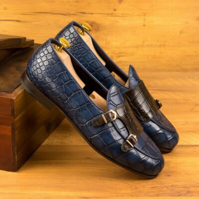 Custom Made Men's Monk Slipper in Navy Blue and Dark Brown Painted Croco Embossed Calf