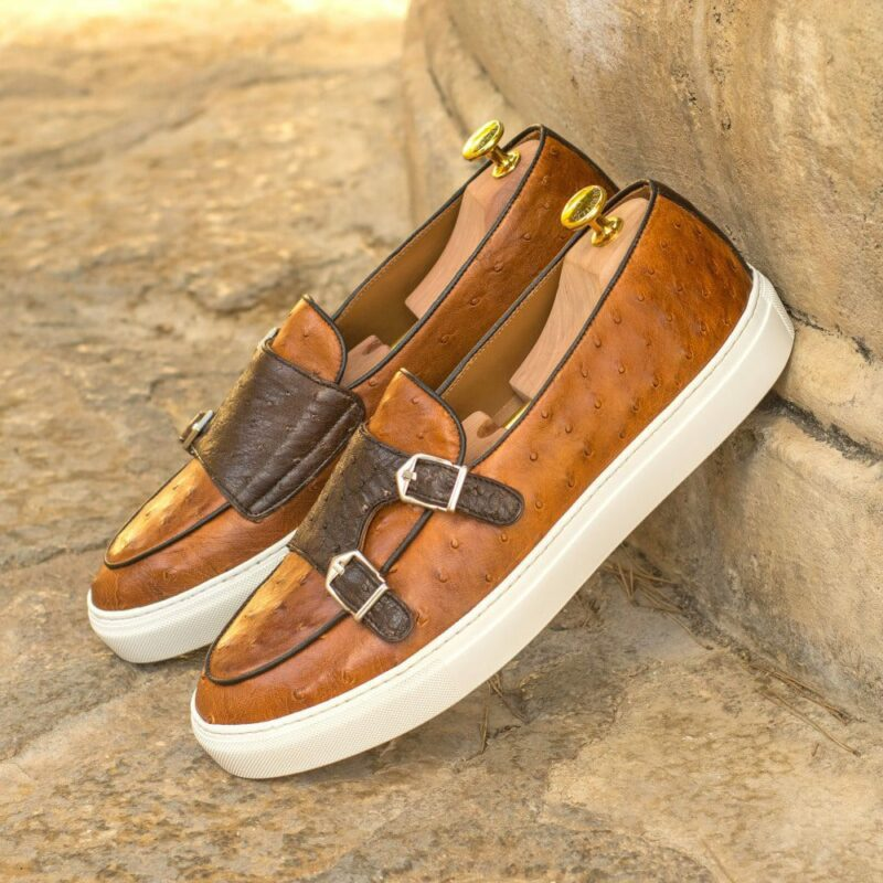Custom Made Men's Monk Sneaker in Cognac and Dark Brown Genuine Ostrich