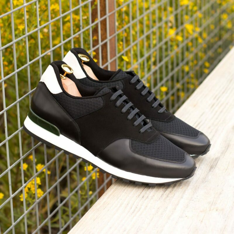 Custom Made Men's Sneaker in Black Polished Calf with Black and White Kid Suede