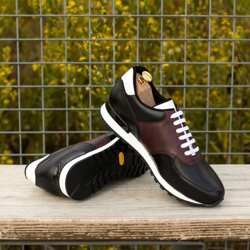 Custom Made Men's Sneaker in Burgundy Pebble Grain Leather with Black and White Box Calf