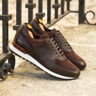 Custom Made Men's Sneaker in Dark Brown Painted Full Grain Leather with Brown Kid Suede