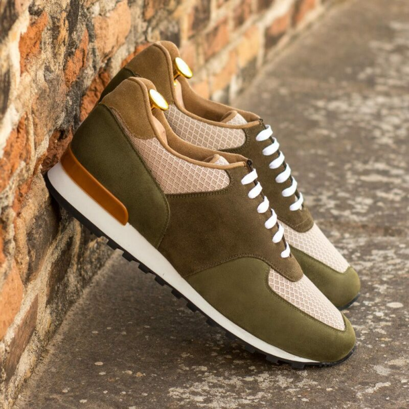 Custom Made Men's Sneaker in Khaki and Camel Luxe Suede with Khaki Kid Suede