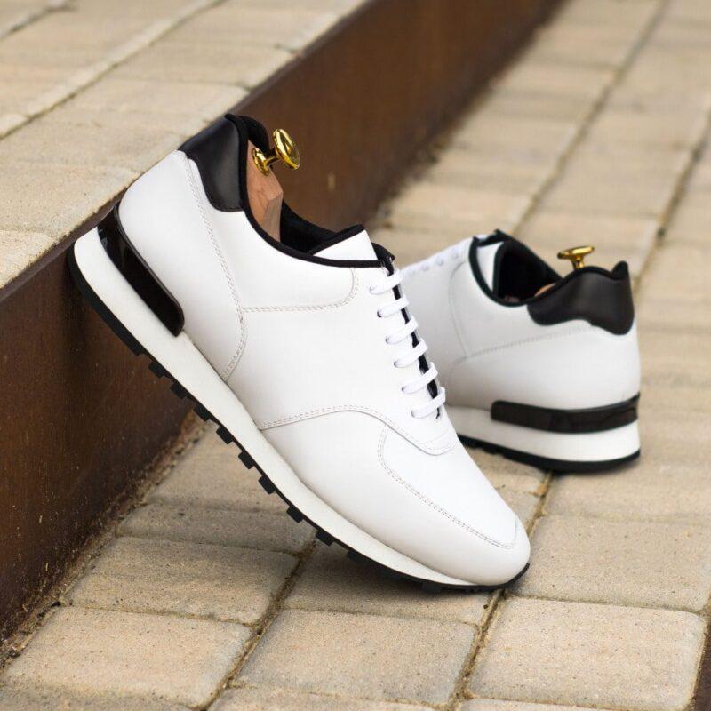 Custom Made Men's Sneaker in White and Black Box Calf