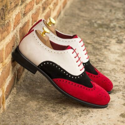 Custom Made Men's Wingtip in White, Black and Red Kid Suede