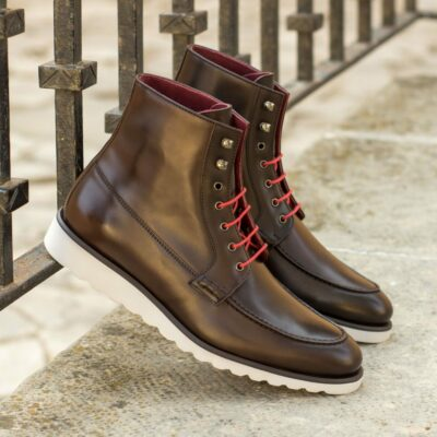Custom Made Moc Boot in Dark Brown Box Calf and Polished Calf Leather
