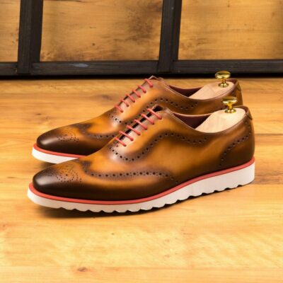 Custom Made Whole Cut Dress Shoes in Burnished Cognac Painted Calf Leather
