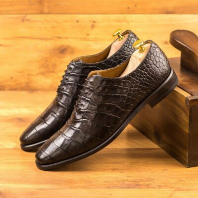 Custom Made Whole Cut Dress Shoes in Dark Brown Croco Embossed Calf Leather