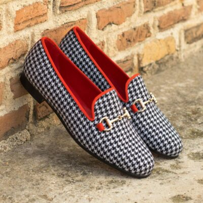 Custom Made Women's Audrey Slipper in Houndstooth with Red Grossgrain and Metal Bit