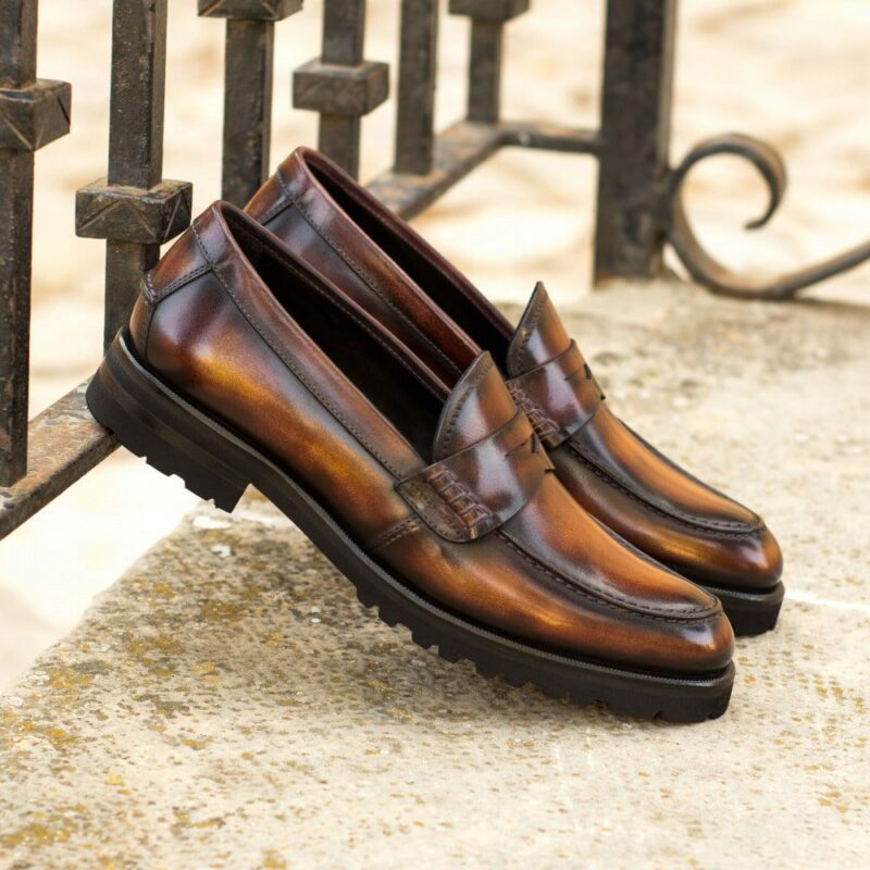 Custom Made Women's Loafers in Italian Calf Leather with a Fire Museum Hand Patina