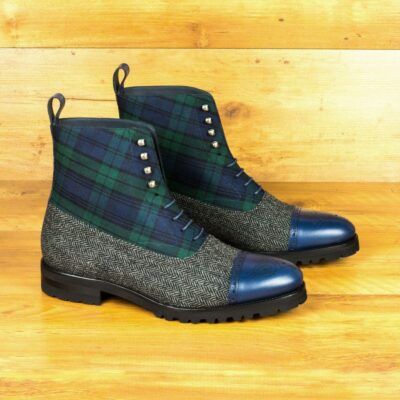 Custom Made Balmoral Boot in Blackwatch and Herringbone with Navy Blue Painted Calf Leather with Green Flannel