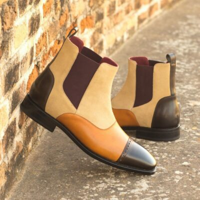 Custom Made Goodyear Welted Chelsea Boot Multi in Sand Luxe Suede with Cognac and Dark Brown Painted Calf Leather
