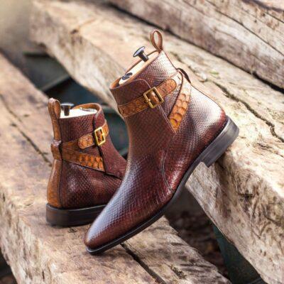 Custom Made Goodyear Welted Jodhpur Boot in Burgundy and Medium Brown Genuine Python